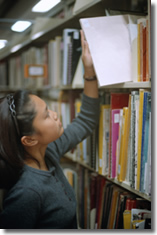 girl, library, bookshelf