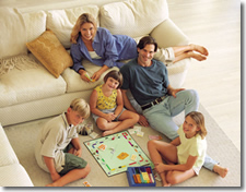 family playing boardgame