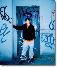 skateboarder, graffiti, city, man