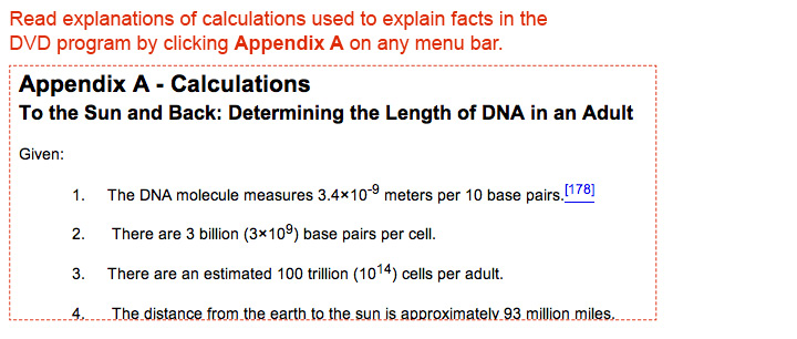 Read explanations of calculations used to explain facts in the DVD program by clicking Appendix A.