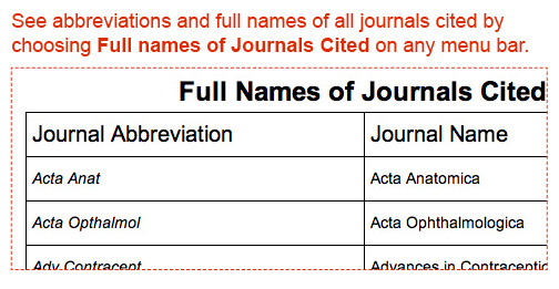 See full names of all journals cited by choosing Full Names of Journals Cited on any menu bar.
