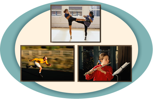 Collage of people kick boxing, skating, and playing the flute.