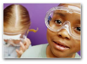 children, science class, goggles