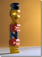 Children's blocks spelling out Science