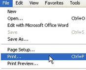 Screenshot showing how to print this help file.