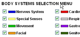 Screenshot of the Body Systems Selection Menu